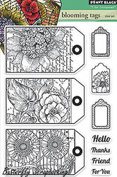 Bloom Tags Stamp Set, Clear Unmounted Rubber Stamp Set PENNY BLACK - NEW, 30-228