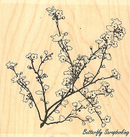 Blooming Branch, Wood Mounted Rubber Stamp IMPRESSION OBSESSION - NEW, H7747