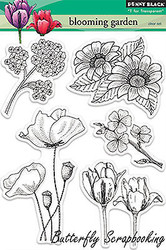 Blooming Garden Stamp Set Clear Unmounted Rubber Stamps PENNY BLACK 30-155 New