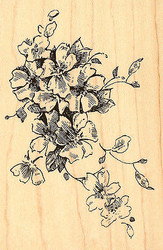 Blossom Spray, Wood Mounted Rubber Stamp STAMPENDOUS, NEW - P136