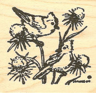 Bluejays On Thistle, Wood Mounted Rubber Stamp NORTHWOODS - NEW, CC7680