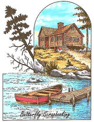 Boat Dock House Scene Cling Unmounted Rubber Stamp C.C. Designs JD1041 New