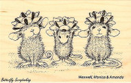 Bow Tied Christmas HOUSE MOUSE Wood Mounted Rubber Stamp STAMPENDOUS, NEW- HMM07