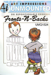 Boy Front & Back Unmounted Rubber Stamps with Cushion AI Art Impressions NEW