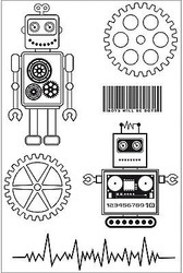 Boys Toy Robots Collection 6 Clear Unmounted Rubber Stamps by Kaisercraft NEW