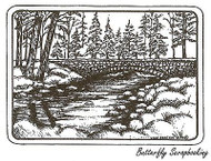 Bridge In Rectangle Frame, Wood Mounted Rubber Stamp NORTHWOODS - NEW, P9636