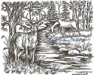 Buck With Two Does By Stream, Wood Mounted Rubber Stamp NORTHWOODS - NEW, P9039