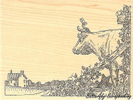 Bull & Cat In Pail, Wood Mounted Rubber Stamp IMPRESSION OBSESSION - NEW, H1939