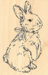 Bunny And Bow, Wood Mounted Rubber Stamp IMPRESSION OBSESSION - NEW, D6076