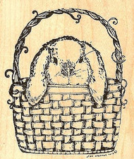 Bunny Peeking Out Of Basket, Wood Mounted Rubber Stamp NORTHWOODS - NEW, M8462