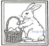 Bunny Rabbit Basket Square Wood Mounted Rubber Stamp Northwoods Rubber Stamp New