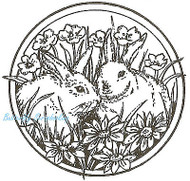 Bunny Rabbit Circle Easter Wood Mounted Rubber Stamp Northwoods Rubber Stamp New
