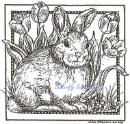 Bunny Rabbit Tulip Square Wood Mounted Rubber Stamp Northwoods Rubber Stamp New