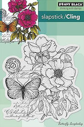 Butterfly Botanical Notes Cling Unmounted Rubber Stamp PENNY BLACK 40-276 New