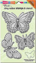 Butterfly Butterflies Unmounted Cling Rubber Stamps Set Stampendous CRS5071 NEW