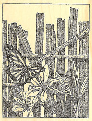 Butterfly Fence Wood Mounted Rubber Stamp Impression Obsession Stamp H1946 NEW