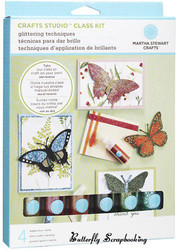 BUTTERFLY Glitter Card KIT Crafts Studio Martha Stewart Crafts 40-34016 NEW