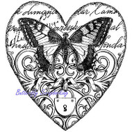 BUTTERFLY Heart Collage Cling Unmounted Rubber Stamp MAGENTA C43006-J NEW