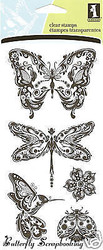 BUTTERFLY MINDSCAPES Clear Unmounted Rubber Stamp Set INKADINKADO 99121 New