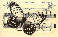 Butterfly Music Mixed Media Wood Mounted Rubber Stamp STAMPENDOUS Stamp P223 New