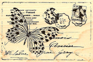 Butterfly Postcard Collage Wood Mounted Rubber Stamp STAMPENDOUS P147 New