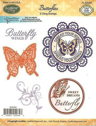 BUTTERFLY Stamp Set Cling Unmounted Rubber Stamps by JustRight CL-02034 NEW