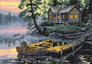 Cabin & Boat Moring Lake Gold Collection Petites Dimensions Cross Stitch Kit NEW
