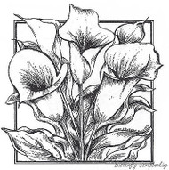 Calla Lillies In Rectangle, Wood Mounted Rubber Stamp New NORTHWOODS - PP8490