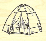 Camping Tent, Wood Mounted Rubber Stamp NORTHWOODS - NEW, F9790