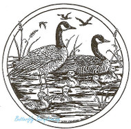 Canadian Geese Family Wood Mounted Rubber Stamp Northwoods Rubber Stamp New