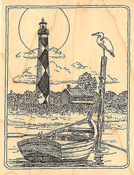 Cape Lookout Lighthouse Wood Mounted Rubber Stamp Impression Obsession H1904 NEW