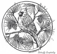 Cardinal & Pines In Circle, Wood Mounted Rubber Stamp NORTHWOODS - NEW, PP8298