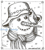 Cardinal On Snowman Nose Christmas, Wood Mounted Rubber Stamp NORTHWOODS - M7191