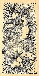 Cardinal On Snowy Pine, Wood Mounted Rubber Stamp NORTHWOODS - NEW, O6778