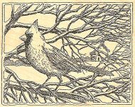 Cardinal on Winter Tree Scene Wood Mounted Rubber Stamp Impression Obsession NEW