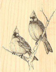 Cardinals Birds On A Branch Wood Mounted Rubber Stamp Impression Obsession NEW