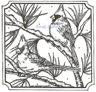 Cardinals On Pine In Snow Wood Mounted Rubber Stamp Northwoods Rubber Stamp New