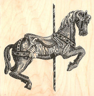 Carousel Horse Fancy Wood Mounted Rubber Stamp Impression Obsession H1037 NEW