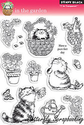 Cat In Garden Stamp Set Clear Unmounted Rubber Stamp Set PENNY BLACK 30-044 New