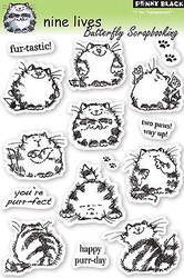 CAT Nine Lives Stamp Set Clear Unmounted Rubber Stamp Set PENNY BLACK 30-050 New