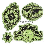 Celestrial Set Stamping Gear 4 Unmounted Cling Rubber Stamp Set Inkadinkado New