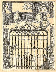 Cemetery Fence Scene Wood Mounted Rubber Stamp Impression Obsession NEW