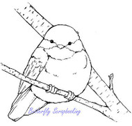 Chickadee Bird On A Branch Cling Unmounted Rubber Stamp MAGENTA C42216-P NEW