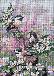 Chickadee Birds Spring Gold Collection Petites Dimensions Cross Stitch Kit NEW