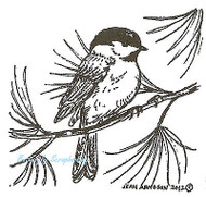 Chickadee On Pine Tree Branch Bird, Wood Mounted Rubber Stamp NORTHWOODS - C8883