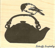 Chickadee Tea, Wood Mounted Rubber Stamp IMPRESSION OBSESSION - NEW, D13184