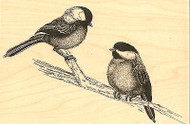 Chickadees Birds On A Branch Wood Mounted Rubber Stamp Impression Obsession NEW