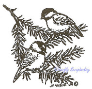 Chickadees Birds on Pine Branch Wood Mounted Rubber Stamp NORTHWOODS CC7677 New