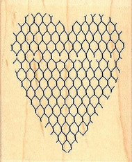 Chicken Wire Heart, Wood Mounted Rubber Stamp IMPRESSION OBSESSION - NEW, D9509