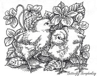 Chicks In Violets, Wood Mounted Rubber Stamp New NORTHWOODS - M6489